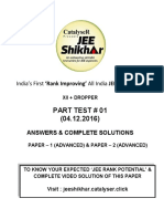 Solution XII Class Part Test01 P-1 2 Advanced Pattern 04.12.2016