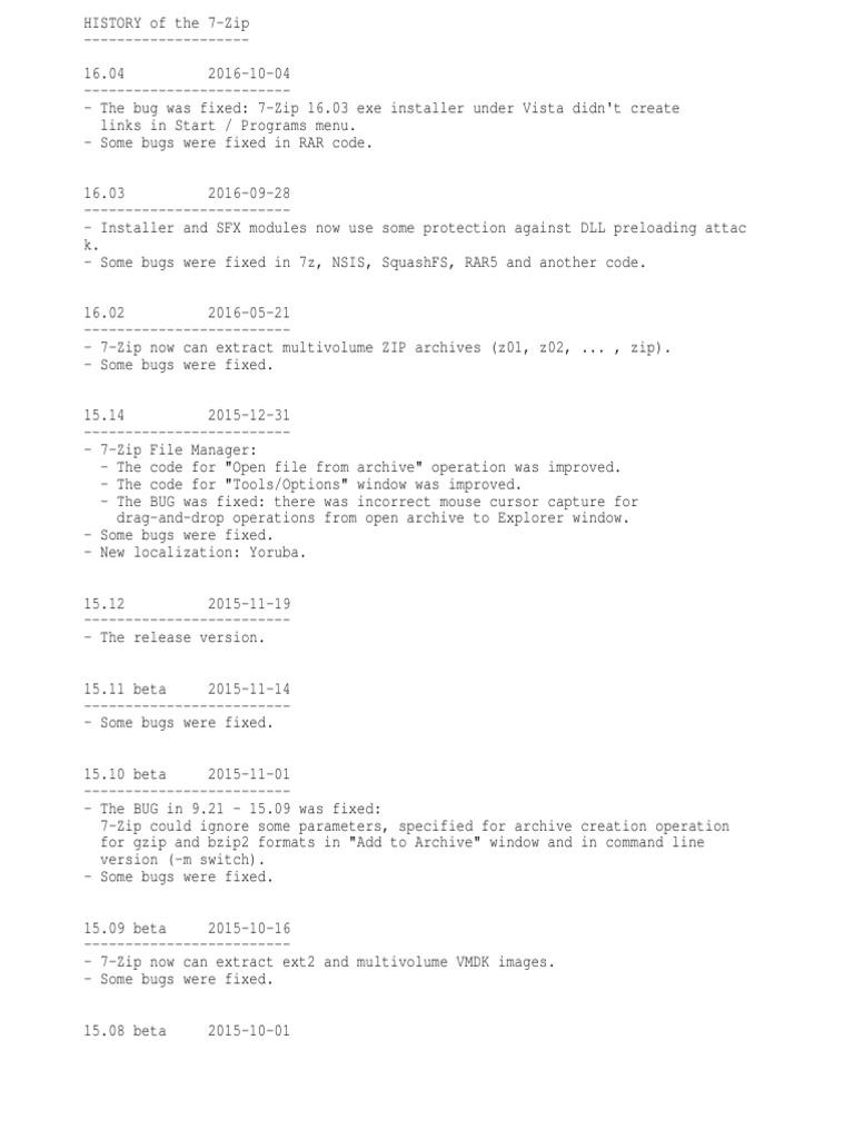 7-Zip History | Zip (File Format) | Software