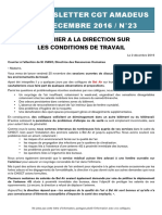 Newsletter 23 - Conditions de Travail