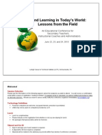 Teaching and Learning in Today's World- Lessons From the Field