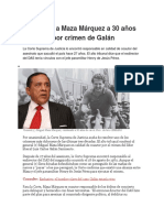 Condenan a Maza Márquez a 30 Años de Cárcel Por Crimen de Galán