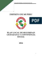 PLAN LOCAL DE SEGURIDAD CIUDADANA Y CONVIVENCIA SOCIAL 2016 - DISTRITO  MI PERU - CALLAO
