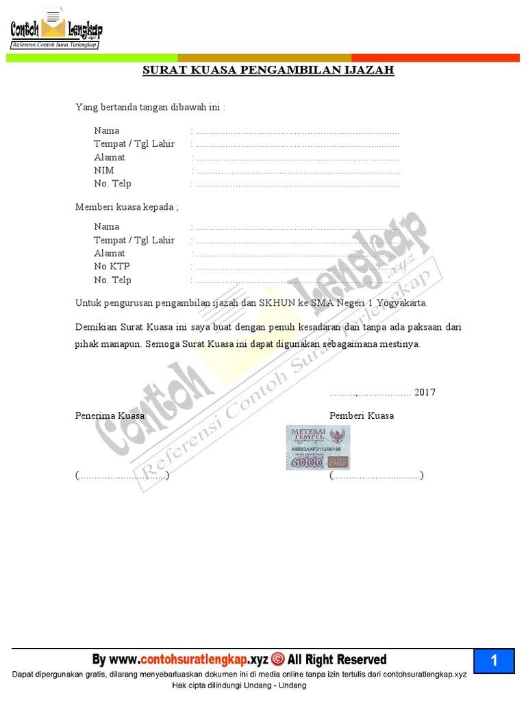 Surat Kuasa Pengambilan Legalisir Ijazah