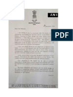 Defence Minister's Letter To Bengal Government