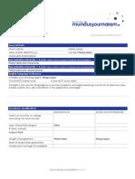 Mundus Journalism - Application Form