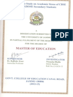 A Comparative Study of Acadmenic Stress of CBSE and JKBOSE secondary students:- By Priyanka Bhalla