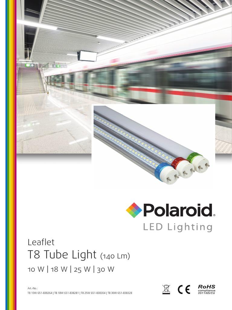 Polaroid Leaflet T8 Tube 140lm Eng Lighting Light Led E Book 2 Bahasa