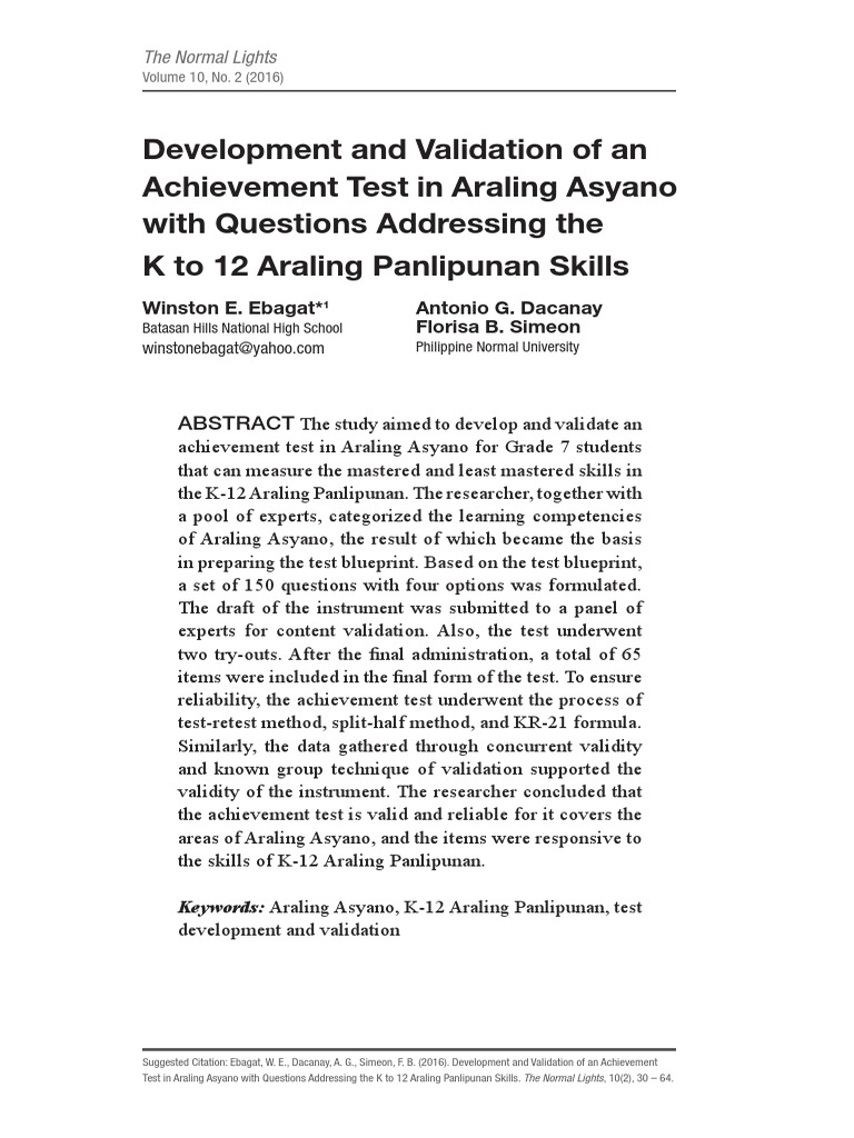 Development and validation of an achievement test in araling asyano development and validation of an achievement test in araling asyano with questions addressing the k to 12 araling panlipunan skills validity statistics malvernweather Choice Image