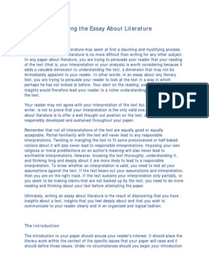 Outline Example For Essay  Personal And Professional Goals Essay also Gender Roles In Society Essay Writing The Essay About Literature  Essays  Argument Helping Others Essay