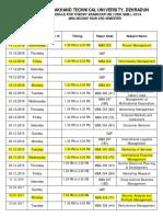 MBA Examination Schedule