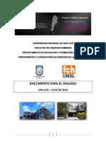 Doc Para El Dialogo- Cs de La Educacion Unsl
