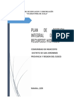 Plan GIRH Huaccoto-San jeronimo Cusco Peru