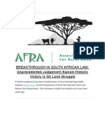 Breakthrough in South African Law