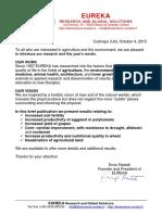 ENG Report Risultati EUREKA 2015 23-10-2015 Agricolture