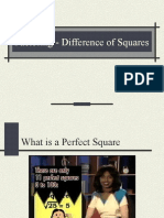 Factoring - Special Cases Difference of Squares