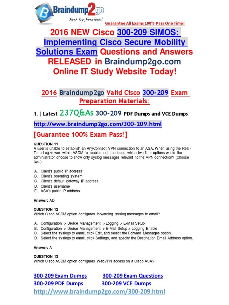 2016 07 Latest] Cisco 300-209 PDF Dumps 237q [11-20] | Firewall