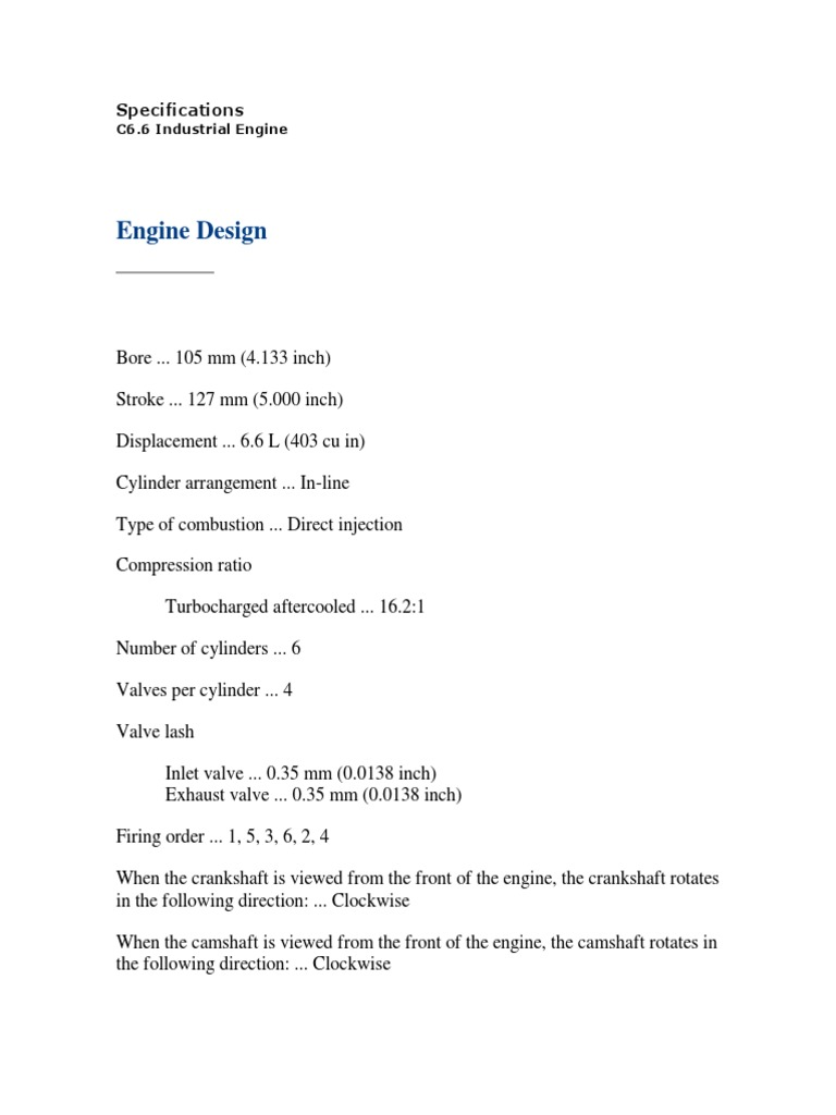 Datos de Reparacion de Motor Caterpillar c6 6   Internal