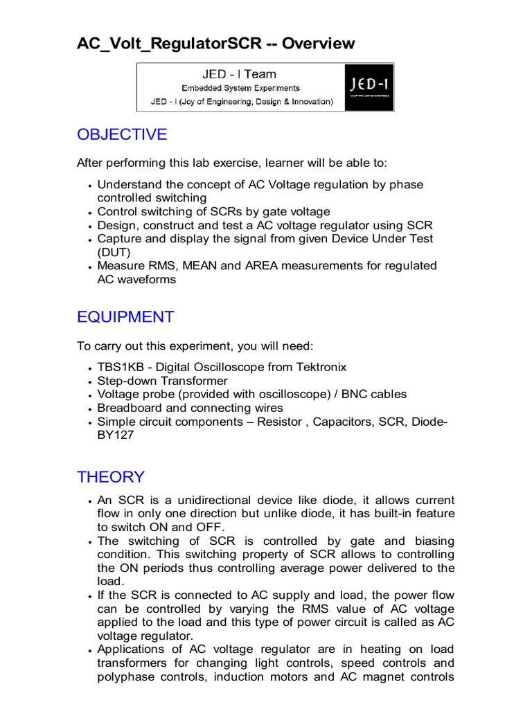 Ac Volt Regulatorscr Pdf Alternating Current Physical Quantities Scrturnoff Characteristics Electronic Circuits And Diagram