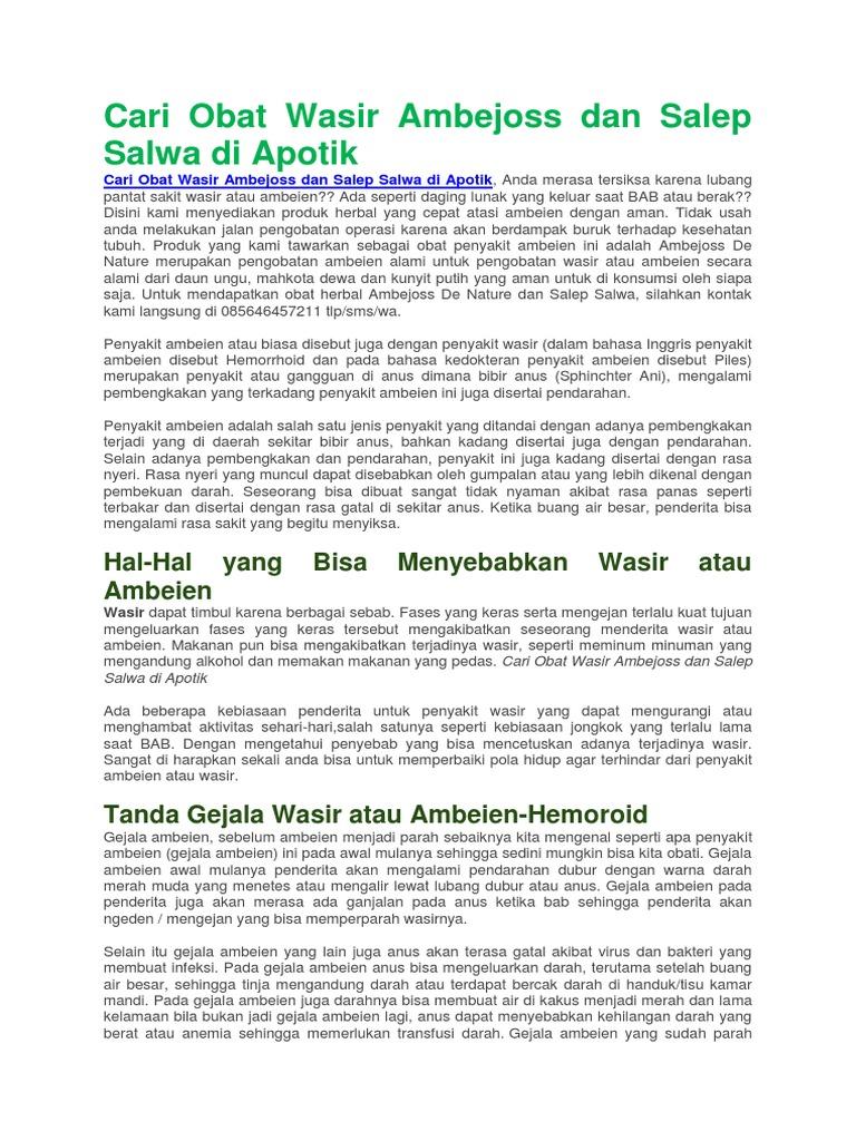 Cari Obat Wasir Ambejoss Dan Salep Salwa Di Apotik Hemmorhoida Ambien Ambeien 1538835179v1