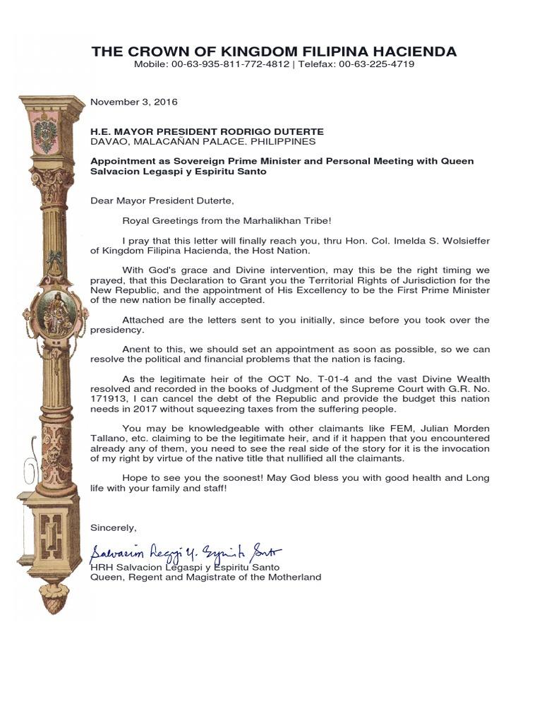 Kingdom Filipina Hacienda Letter To Duterte 11 3 16