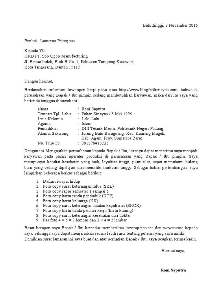 Contoh Surat Lamaran Kerja Sebagai Promotor Oppo Berbagi Contoh Surat