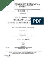 HOUSE HEARING, 109TH CONGRESS - LEGISLATIVE PRESENTATIONS OF VETERANS SERVICE ORGANIZATIONS AND MILITARY ASSOCIATIONS HEARING I