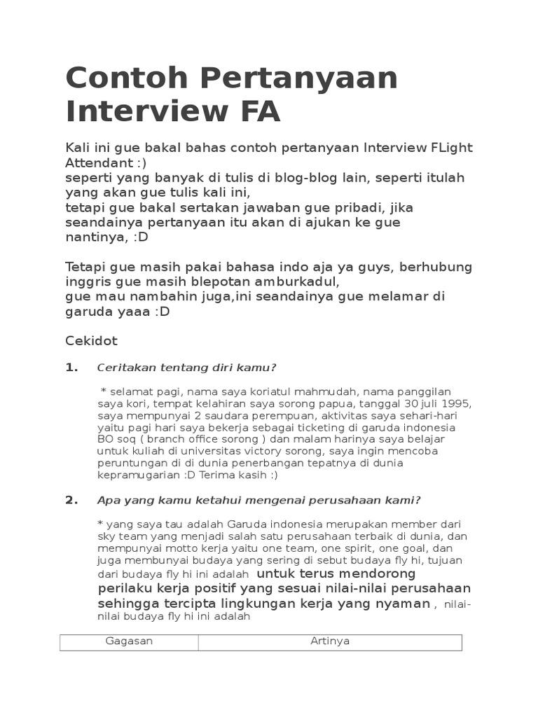 Contoh Pertanyaan Interview Fa