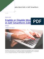 Enable or Disable Word Edit in SAP Smartform Editor
