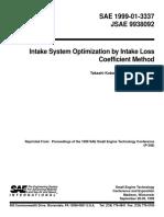 1999-01-3337 - Intake System Optimization by Intake Loss Coefficient Method