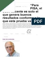"""""""Para PISA, El Buen Docente Es Solo El Que Genera Buenos Resultados Conforme a Lo Que Esta Prueba Valora"""" – Revista TE"""