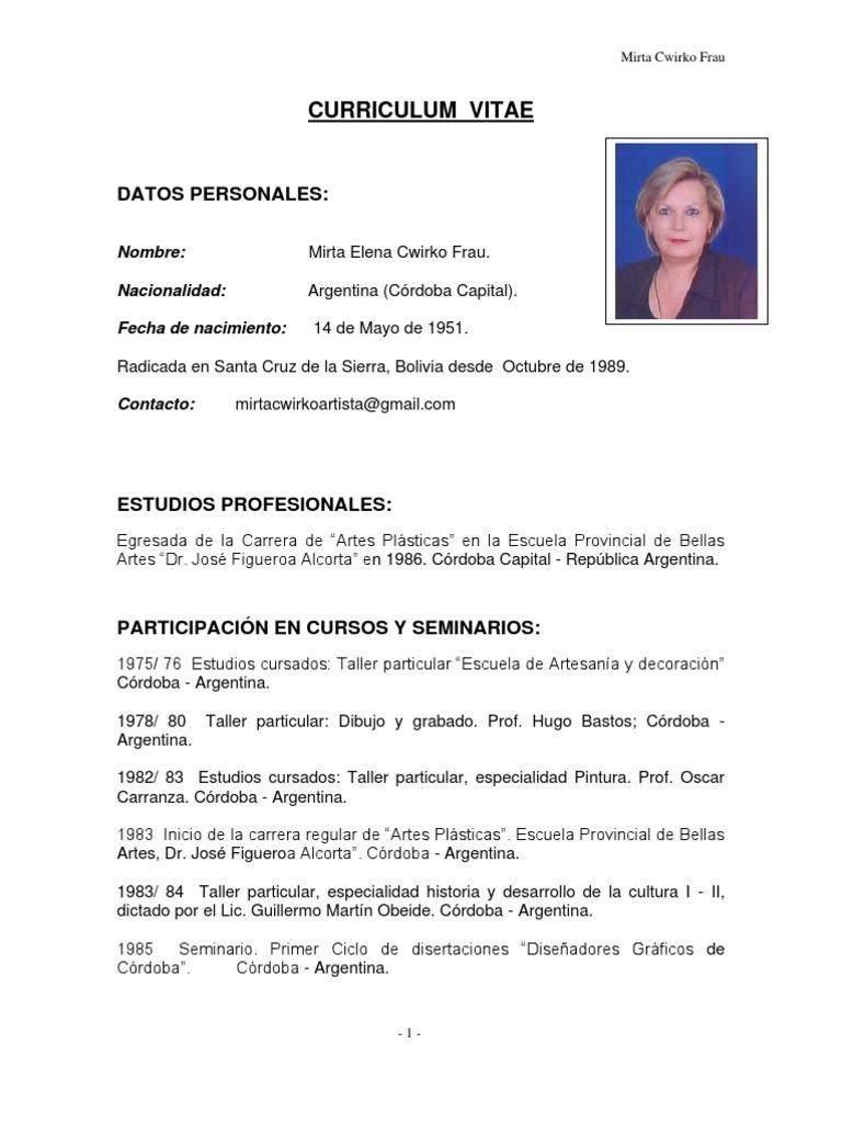 Curriculum Vitae Mirta Cwirko