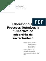 Dinamica de adsorción de surfactantes
