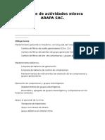 Informe de Actividades Minera ARAPA SAC