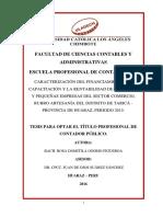 Caracterización del financiamiento, la capacitación y la rentabilidad de las micro y pequeñas empresas del sector comercio, rubro artesanía del distrito de Taricá - provincia de Huaraz, periodo 2015