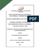 """TESIS - Control Interno y Gestión de Recursos Humanos en La Empresa """"Mundial Farma"""", 2014"""