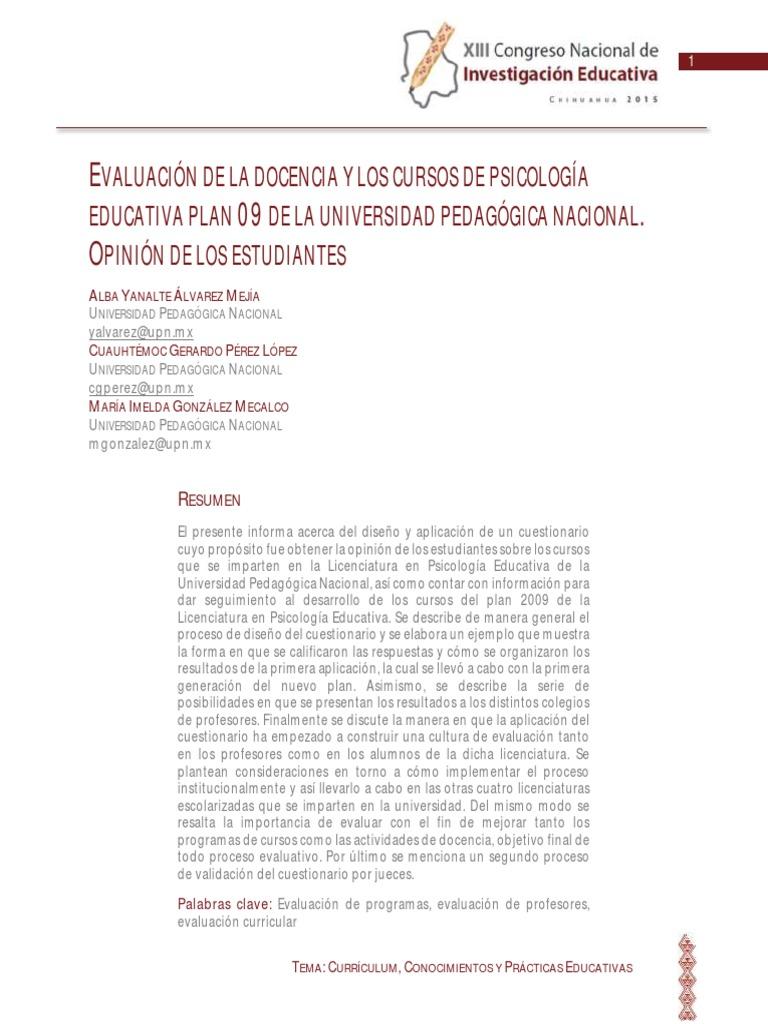 EVALUACIÓN DE LA DOCENCIA Y LOS CURSOS DE PSICOLOGÍA EDUCATIVA PLAN ...