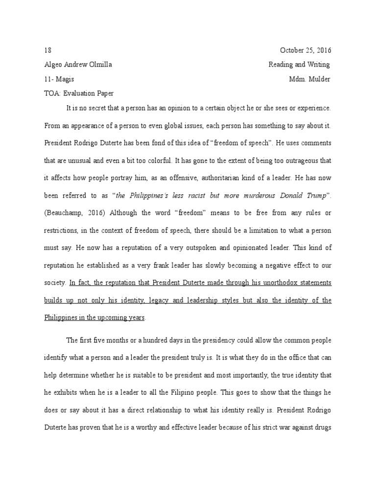 evaluation paper | Rodrigo Duterte | Philippines
