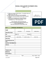 PAGCOR Personal Disclosure Statement Form