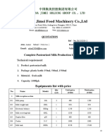 Complete Pasteurized Milk Production Line Quotation