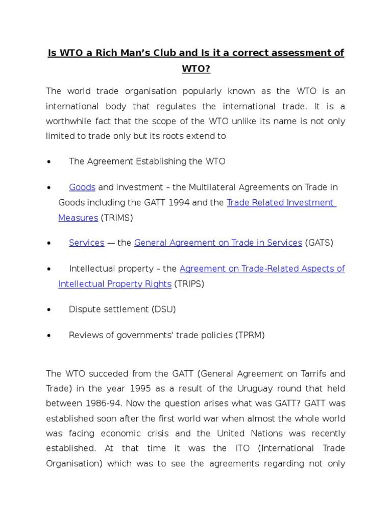 Is wto a rich mans club abhinandan world trade organization is wto a rich mans club abhinandan world trade organization general agreement on tariffs and trade platinumwayz