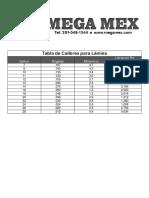 Calibres de Lamina en Pulg y Mm