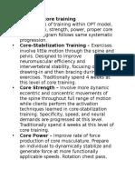 Levels of Core Training