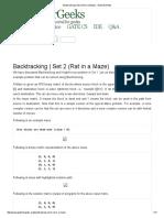 Backtracking _ Set 2 (Rat in a Maze) - GeeksforGeeks