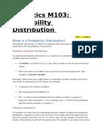 Statistics M103 Probability Distribution