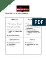Swot Analysis of Reliance Fresh
