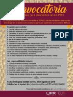 Convocatoria para estudiantes mentores pares del CUA/PPMU