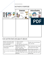 Authors Purpose Print Able Worksheet Cut and Sort