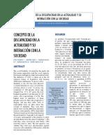 Concepto de La Discapacidad en La Actualidad y Su Interacción Con La Sociedad(Investigación de Campo)