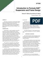 Suspension and Frame Design in Formula SAE - SAE Paper