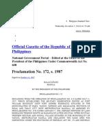 Proclamation No. 172